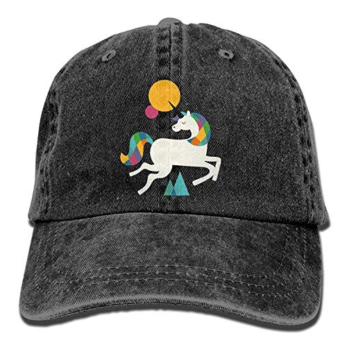 GHEDPO I'm Magical Unicorn Rainbow Denim Baseball Caps Hat Adjustable Cotton Sport Strap Cap for Men Women