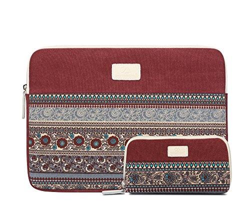 Bohème Stil Canvas Laptop Hülle Sleeve Tasche 14 Zoll, Täsche für Zubehör, Wein Rot Rote Laptop-tasche