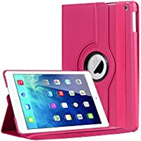 Folio Slim Fit Leather Smart Cover Case with Auto Sleep / Wake Feature for iPad Air Ipad 5 (hot pink)