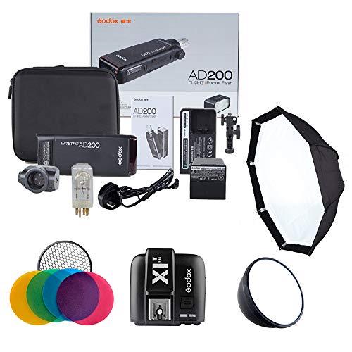 Godox AD200 Fuji Kit | Flash TTG HSS 2.4G | Tragbarer und Leichter batteriebetriebener Blitz | Power Monolight einstellbar/tragbarer Blitz und Studiofotografie und Ort Monolight Studio Kit