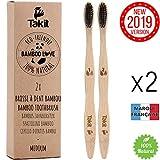 TAKIT Brosse A Dent Bambou - Pack De 2 - Poils Moyen Avec Charbon Infusé - Bio - Écologiques Et 100% Biodégradables