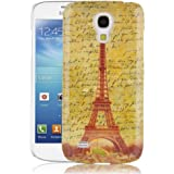 JAMMYLIZARD | Vintage Back Cover Hülle mit Muster für Samsung Galaxy S4 Mini, BRAUNER EIFFELTURM