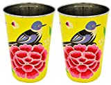 The Crazy Me Handpainted Colorful Bird Yellow Tumbler (Large) (SET OF 2)