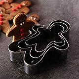 3 pezzi di formine per biscotti di Natale fondente stampo Gingerbread Man nuovo anno in acciaio inox biscotto taglierina cucina strumento di cottura
