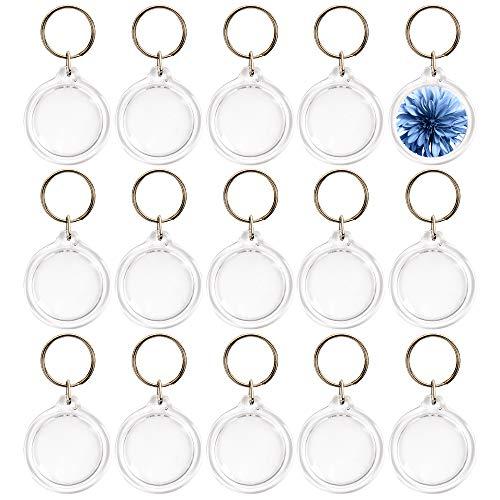 matana 50 Stück Klaren Runden Acryl Schlüsselanhänger mit Schlüsselring, 4.5cm - Leerer Schlüsselbund für Personalisiert Bilder Fotos Logos - Ideal Partygeschenke an den Hochzeiten Geburtstagen.