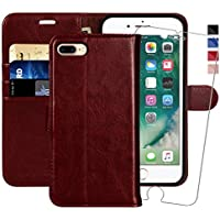 MONASAY iPhone 7 plus Wallet Case/iPhone 8 plus Wallet Case,5.5 -inch [Glass Screen Protector Included] Flip Folio Leather Cell Phone Cover with Credit Card Holder for Apple iPhone 7 plus/8 plus