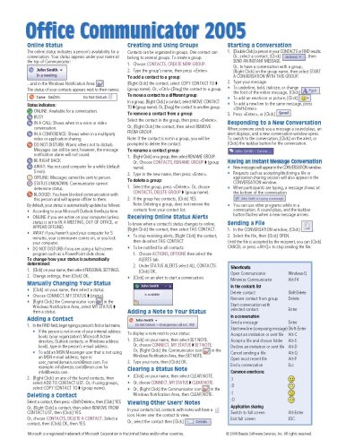 Office Communicator 2005 Quick Reference Guide (Cheat Sheet of Instructions, Tips & Shortcuts - Laminated Card) -