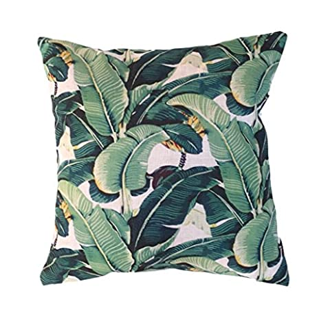 Clara Indoor Outdoor Garden Scatter Cushion Covers Tropical Palm Leaf Water Resistent Jungle Rainforest Decorative Faux Linen