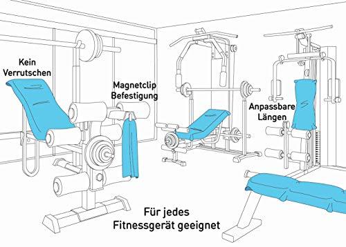 3-tlg Fitness-Handtuch Set mit Reißverschluss Fach + Magnetclip + extra Sporthandtuch   zum Patent angemeldetes Multifunktionshandtuch, Fit-Flip Microfaser Handtuch (gelb) - 4