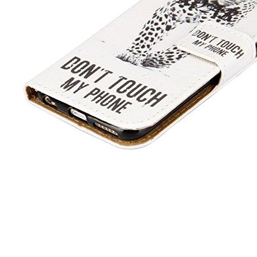 Hülle für iPhone 6S Plus, Tasche für iPhone 6 Plus, Case Cover für iPhone 6 Plus, ISAKEN Malerei Muster Folio PU Leder Flip Cover Brieftasche Geldbörse Wallet Case Ledertasche Handyhülle Tasche Case S Leopard Weiß