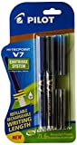 #1: Pilot V7 Hi-tecpoint Pen with cartridge system - 1 Blue, 1 Black Pen, 2 Blue cartridges, 2 Black cartridges