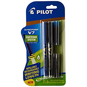 Pilot V7 Hi-tecpoint Pen with cartridge system – 1 Blue, 1 Black Pen, 2 Blue cartridges, 2 Black cartridges