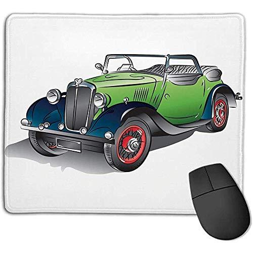 Autos,handgezeichnete Cabrio Oldtimer grün mit bunten Felgen Retro Fahrzeug Design Print dekorativ,grün grau,Konsolen mehr genießen Prec 30X25CM