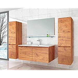 David Badmöbel Set 90 cm Eiche Badezimmermöbel Hochschrank Waschtisch Spiegel 6Teilig