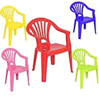 Strong Set of 5 Colours Stackable Kids Children Plastic Chairs Picnic Party Up To 60kg