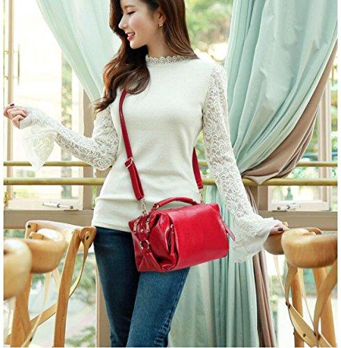 Dame Lychee Muster Art Und Weise Tendenz Schulterbeutel Diagonales Paket Handtasche Beiläufig Red