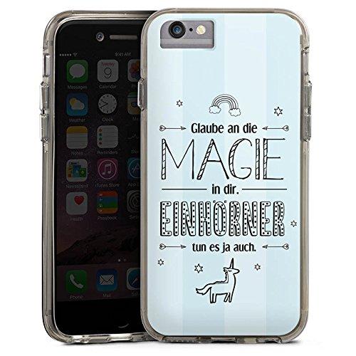 Apple iPhone 6 Bumper Hülle Bumper Case Glitzer Hülle Einhorn Magie Spruch Bumper Case transparent grau