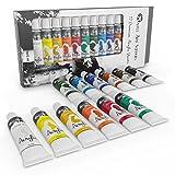 12pc Acrylfarbe Set für Anfänger, Studenten oder Künstler. Perfekte Mischung aus Qualität, Flexibilität und Vielseitigkeit. Kräftige Farben, gute Deckung auf Papier, Leinwand, Holz oder Stoff
