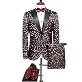 Herren 3D-Druck Business-Kleid Anzüge Mode Leopard Design Slim Fit Anzüge(54,Blau)