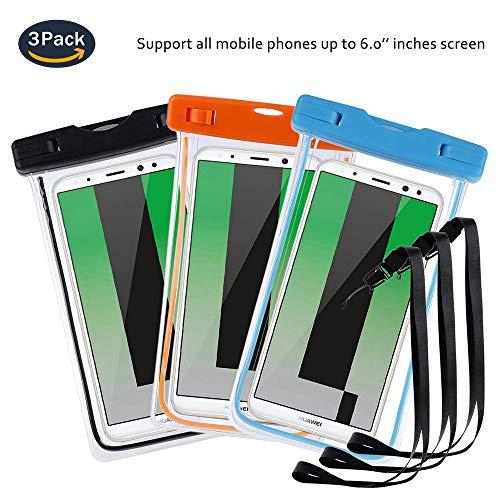 pinlu® 3 Pack IPX8 Wasserdichte Tasche, für Smartphones bis 6 Zoll, für Doogee Nova Y100X, Doogee Kissme DG580, Doogee Valencia2 Y100 Pro, sandproof Protective Shell -Schwarz+Blau+Orange