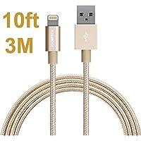 iPhone Ladekabel, JOOMFEEN 10ft/3M Mylon Extra lang 8 pin Lightning Kabel für iPhone 8/8 plus/7/7 Plus/6S/6S Plus 6/6 Plus SE 5S 5C 5, iPad Air/Air 2, iPad mini 2/3/4, iPad 4 - Gold