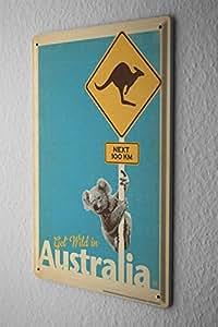 Plaque Émaillée Voyage Autour Du Monde Australie kangourou koala Signes Décorative 20X30 cm