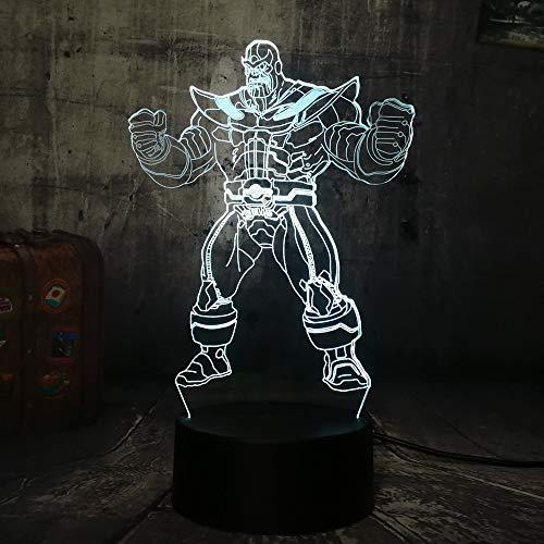 Marvel The Avengers Grand méchant Thanos 3D Led RGB 7 changement de couleur nuit lumière bébé sommeil lampe Home Decor garçon enfant cadeau de Noël