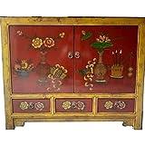 Etnicart - Credenza mongola con cassetti Rosso e giallo-105x85x40-Mobili Etnici per Camera Letto Salone Ingresso Cucina Arredamento Etnico