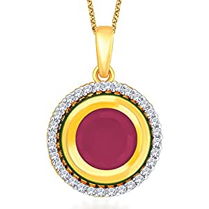 Peora 18 Karat Gold Plated Round Fusion CZ Pendant for Women(PFTP4)