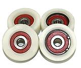 Pack de 4 ruedas de nailon mecanizadas de 50 mm de diámetro fabricadas en la UE, 20mm wide-10mm bearing, 4