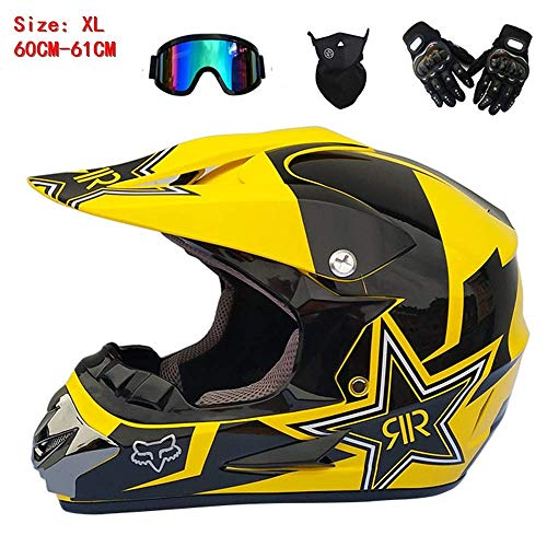 Kostüm Racing Women's - LJ-GJ Outdoor Radfahrer Kostüm- Motorradhelm Mens Womens Full Face Motocross Helm Racing Motorradhelm Motocross Helm MTB Schutz Schutzhelm mit Brille Handschuhe Maske,
