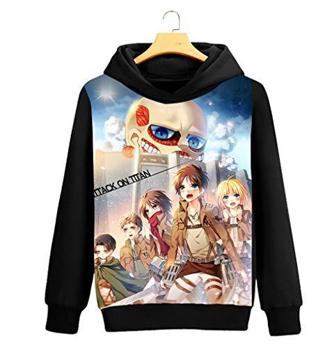 Cosstars Attack on Titan Aot Anime Pullover Sudaderas con Capucha Cosplay Disfraz Hoodie Sweatshirt Outwear Abrigo Suéter Negro 3 XXL