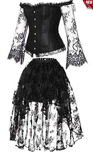 Damen Korsett Spitze Kleid Boned Bustier Steampunk-Kostüm Rock und Korsett Top Verstellbaren ()