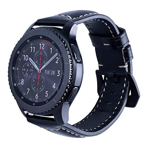 JiaMeng Reemplazo Pulsera de Banda Artificial Cuero Correa Reloj de Cuero Correa de muñeca Correa de Reloj para Samsung Gear S3 Reloj Inteligente(Negro)