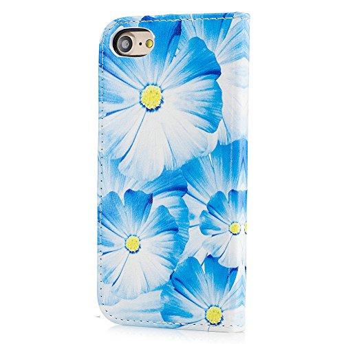 Aeeque® iPhone 7 4.7 pouces Blanc Etui, Luxe Fille et Fleur Motif Dessin Housse Case en Cuir pour les iPhone 7 (2016) avec Support/ Pochette/ Magnétique Fonction Lisse Fleur Bleu Clair