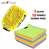 #4: AllExtreme Double-Sided Chenille Microfiber Car Washing Mitt Dusting Glove and 10 Pc Micro Fiber Cleaning Towels Dust Cloth for Lint Free and Streak Free Cleaning of Automobile, Glass, Kitchens, Bathrooms and Furniture (Combo Pack)