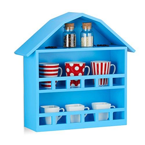 Relaxdays Wandregal Haus mit 3 Fächern, Setzkasten zur Dekoration, matt lackiertes Häuschen, HxBxT 50x52x15 cm, blau