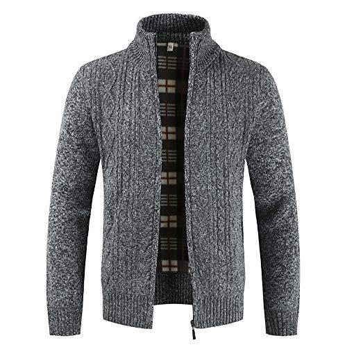 Deep V-neck Knit Top (Riou Herren Strickjacke Cardigan Open Jacke Knit Beiläufige Dünne Mantel Sweatshirt Sweatblazer Männer Winter Zipper Outwear Tops Solid Stehkragen Pullover Strickjacke Mäntel (M, Grau))