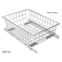 Pull Out Wire Basket Drawer with Roller Runners - Wardrobe Storage Organiser (H100mm x W500mm, White)