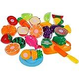 Anpro 18 Pezzi Taglio Frutta e Finti Alimenti - Giocattolo Educativo Prima Infanzia - Accessori Cucina - Set Gioco per Bambini, Gioco Educativo d'Apprendimento per Bambini 3+ Anni