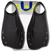No Label Aletas para Nadar - Aletas de Entrenamiento para natación - Aletas de Pala Corta - 4 Tallas - fabricados Negro, (XL) - Extra Large Tamaño 44-45