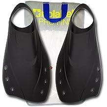 Aletas para Nadar en La Piscina | Aletas de Entrenamiento para natación | Aletas de Pala Corta - 4 Tallas | por No Label (Negro, (L) - Large Tamaño 42-43)