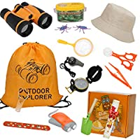 DOOKEY Nature Explorer Kit, Kids Outdoor Adventure Set Including Self-powered Flashlight, Binoculars, Compass, 19PCS Gift Pretend Play Toys For Birthday, Holiday, Camping, Hiking, Education
