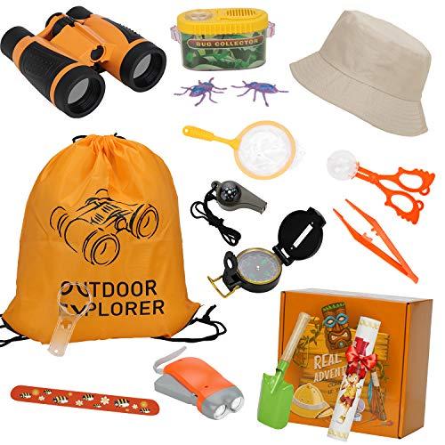 Dookey Exploration Spielzeug Forscherset, Kinder Fernglas Spielzeug Set, Draussen Lernen Camping Wander Geschenk,mit Insekt Lupe Kompass Schmetterlingsnetz Doppelseitiger Hut Taschenlampe 19 in 1set -