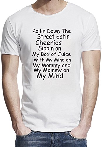 rollin-down-the-street-eatin-cheerios-funny-slogan-t-shirt-bordo-grezzo-uomini-x-large