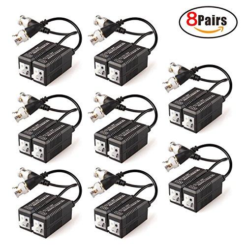 faittoo 8Paare 16Stücke Passive Video Balun Transmitter & Transceiver mit Kabel für 1080p TVI/CVI/TVI AHD/960H DVR Kamera CCTV System, Stecker BNC zu UTP CAT5/5e/6/6e Kabel, kein Strom notwendig (Utp Cat5 Video)