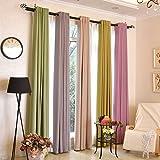 """Impreso de estilo europeo lleno de color sólido Salón Dormitorio cortinas blackout , verde 42W x 96""""L"""
