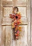 Tür Dekohänger Herbst, Kunstblätter & -blüten, Zapfen und Beeren, Türkranz