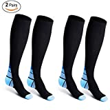Compression Socks for Men Women, Sinhery Knee High Socks Compression Stockings for Better Blood Circulation/Boost Stamina/ Reduced Fatigue with Graduated Athletic Fit for Running, Nurses, Flight Travel, Shin Splints, Maternity Pregnancy, Recovery, Medical Use (Blue&Black L/XL)
