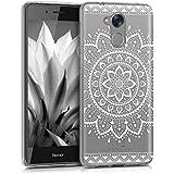 kwmobile Hülle für Huawei Honor 6C - TPU Silikon Backcover Case Handy Schutzhülle - Cover klar Aztec Sonnenblume Design Weiß Transparent